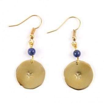 Bedouin Brass Earrings - Shams (Lapis)