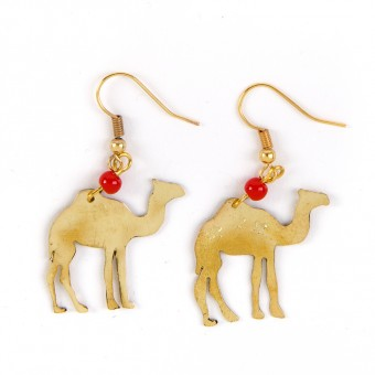 Bedouin Brass Earrings - Camel
