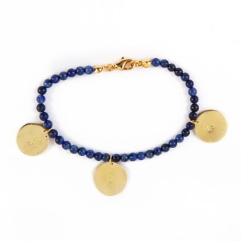 Bedouin Brass Bracelet - Shams (Lapis)