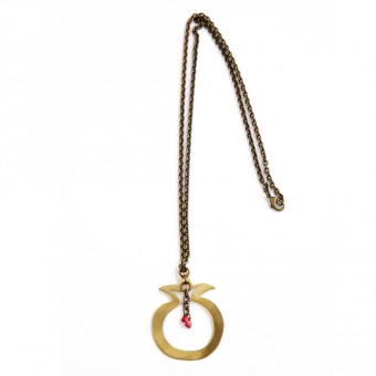Hand-cut Brass Pomegranate Necklace (Red)