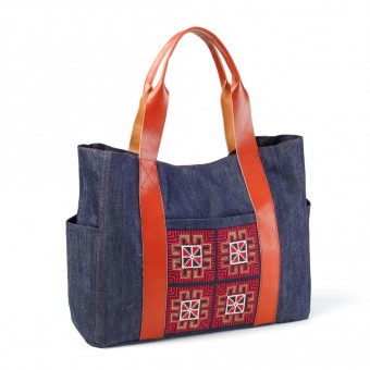 Tote with Leather Handles - Denim