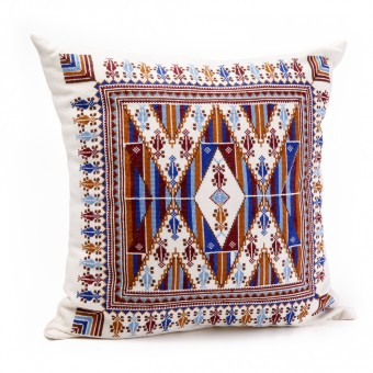 Embroidered Cushion Cover - Blue and Brown Saru