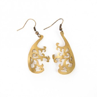 Hand-cut Brass Earrings - Olive Tree