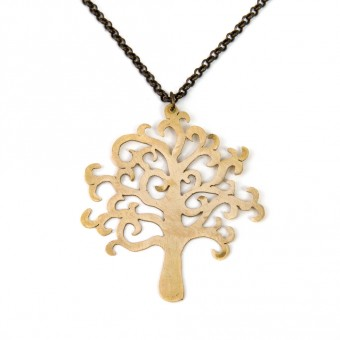 Hand-cut Brass Pendant - Olive Tree