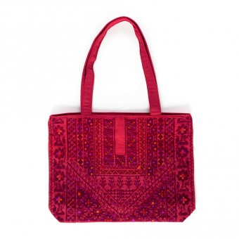 Embroidered Linen Tote