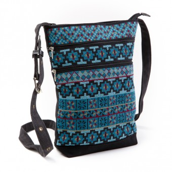 Three-Zipper Shoulder Bag (Teal)