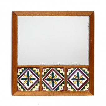 Mirror with Three Arabesque Tiles