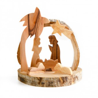 Small Olivewood Nativity on Natural Bark