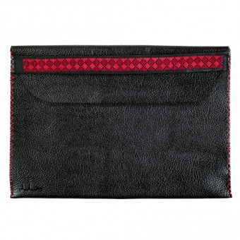 Leather Document Holder with Embroidered Strap