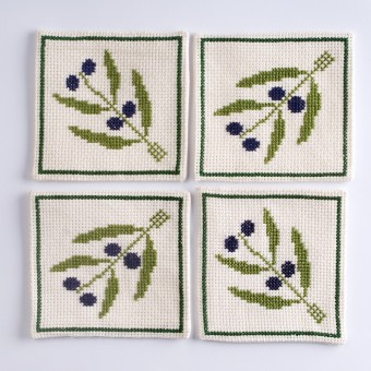 Embroidered Coaster - Olives