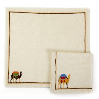 Embroidered Napkin - Camel