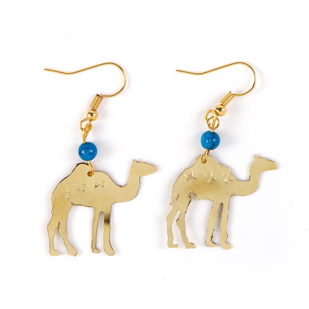 Bedouin Brass Earrings - Camel (Turquoise)