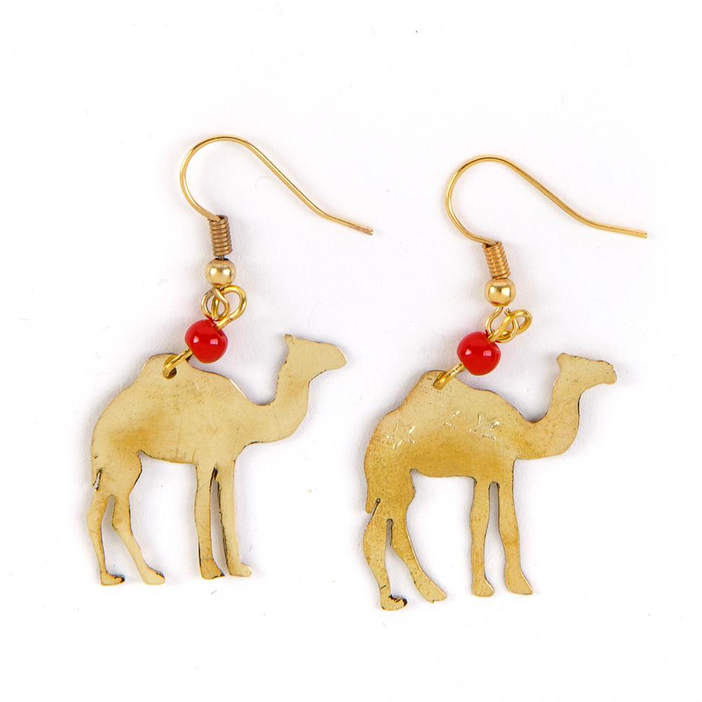 Bedouin Brass Earrings - Camel (Coral)