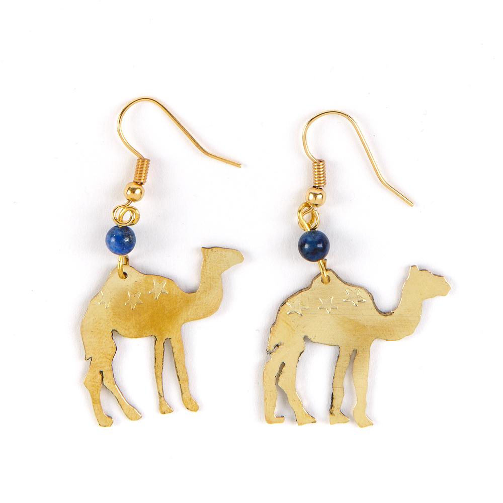 Bedouin Brass Earrings - Camel (Lapis)