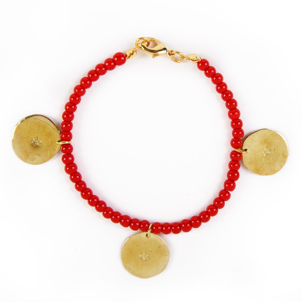 Bedouin Brass Bracelet - Shams (Coral)