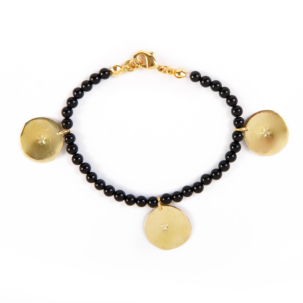 Bedouin Brass Bracelet - Shams (Onyx)