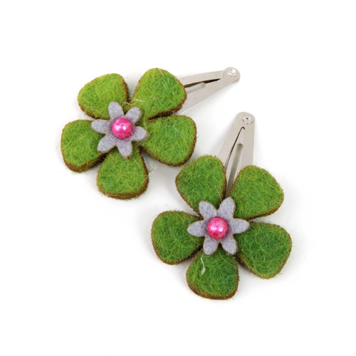 Felt Hair Clips (L) - Green