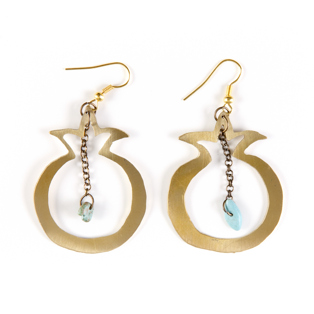 Hand-cut Brass Earrings - Pomegranate