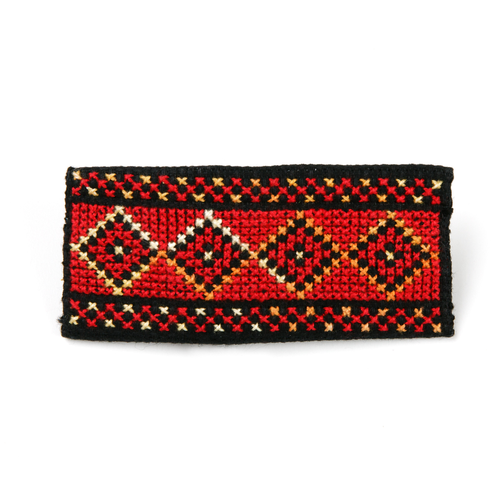 Embroidered Hair Clip (Red)