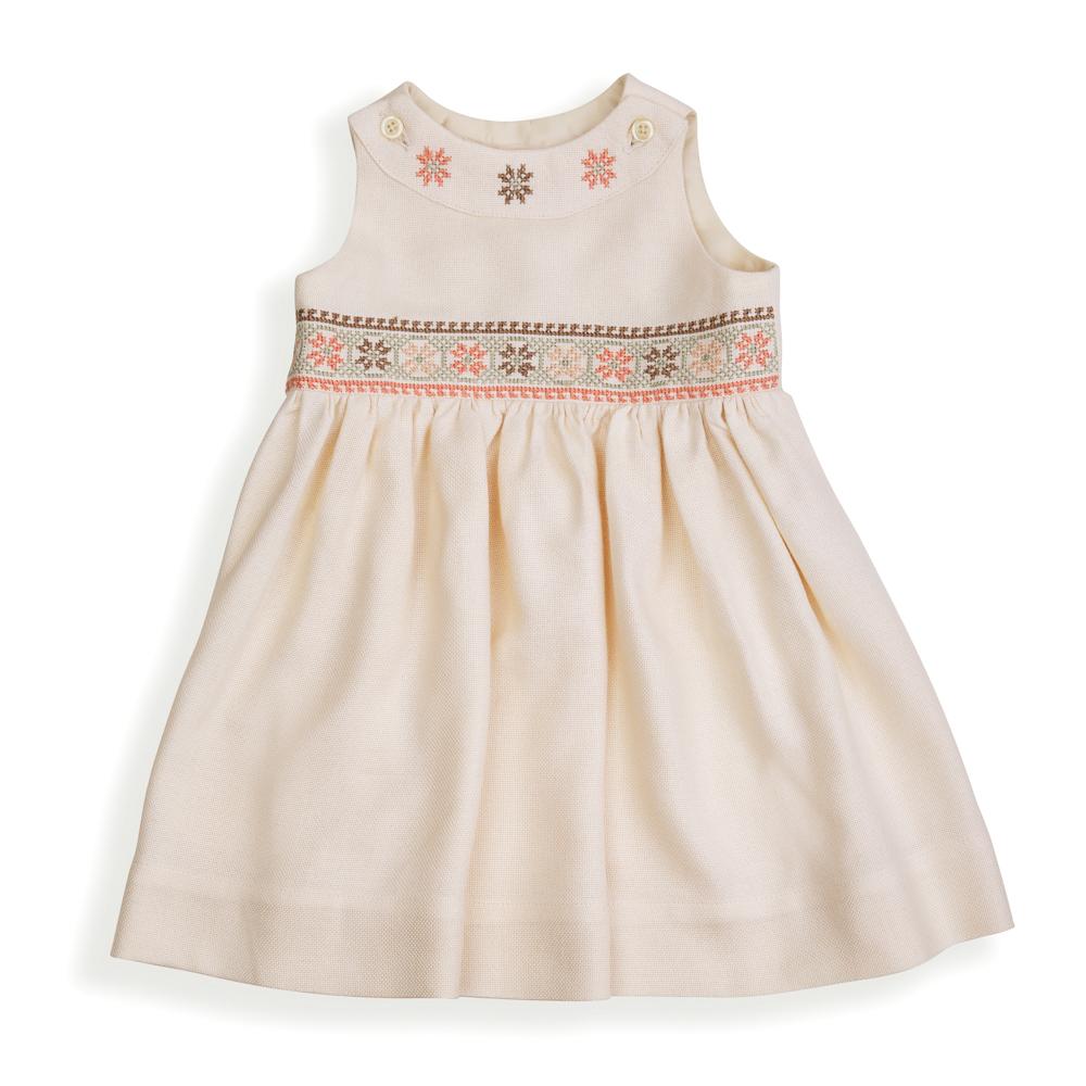 Cross-stitch Dress - Peach