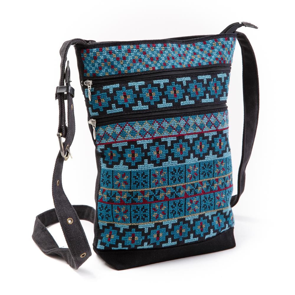 Three-Zipper Shoulder Bag (Teal)