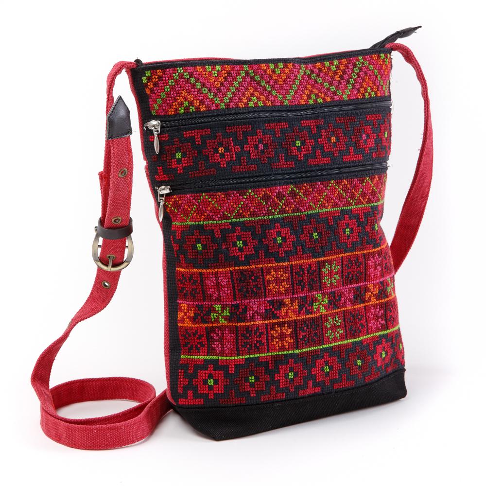 Three-Zipper Shoulder Bag (Red)