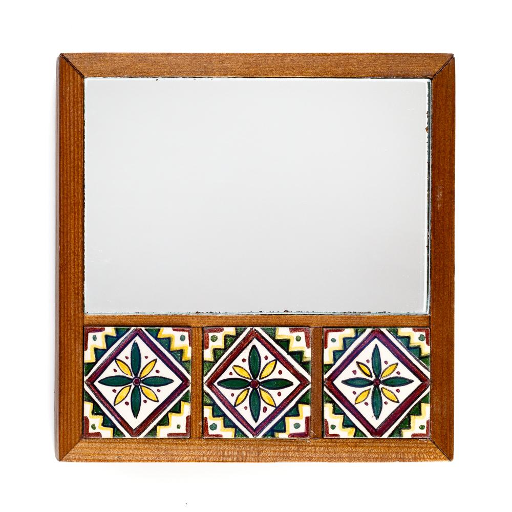 Mirror with Three Arabesque Tiles
