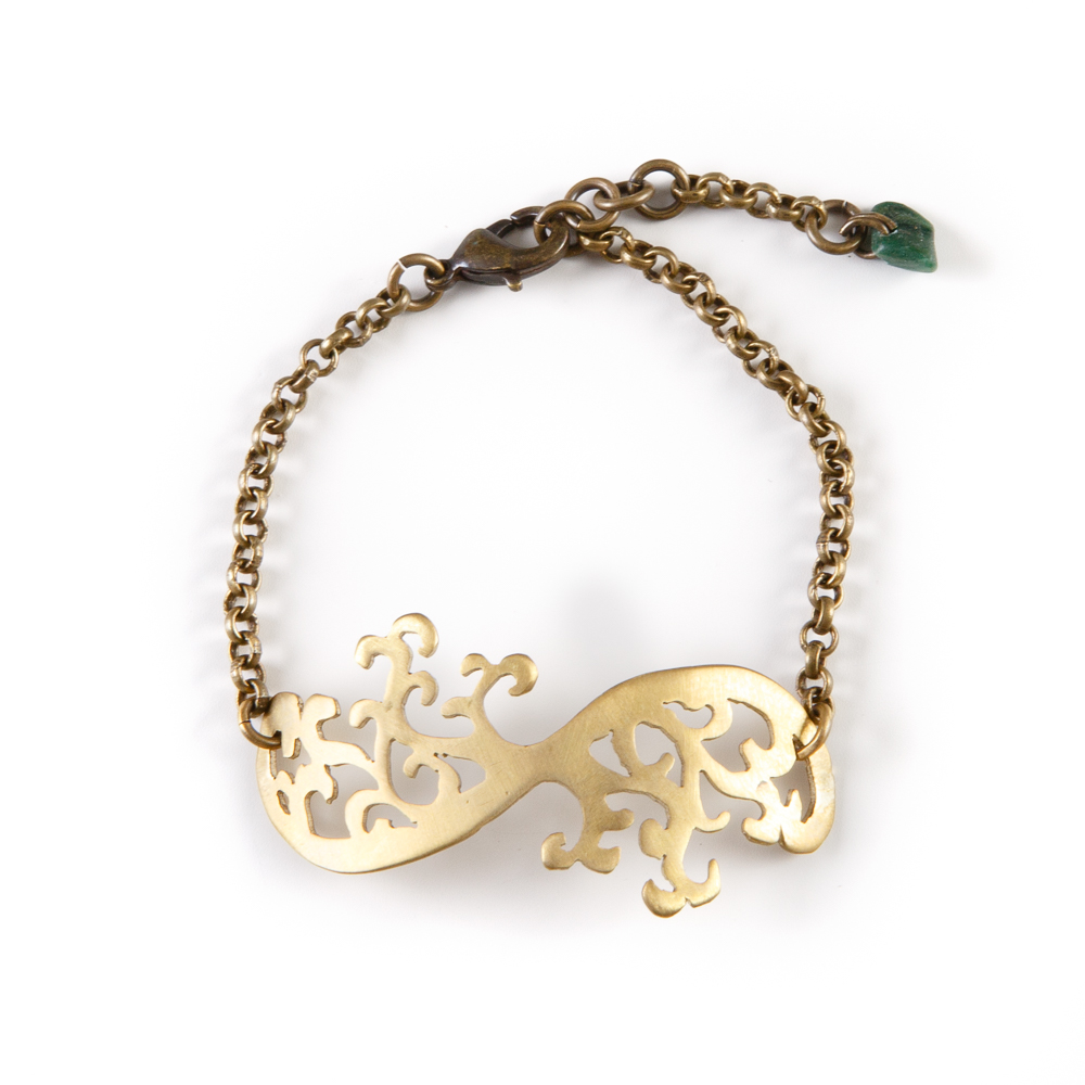Hand-cut Brass Olive Tree Bracelet