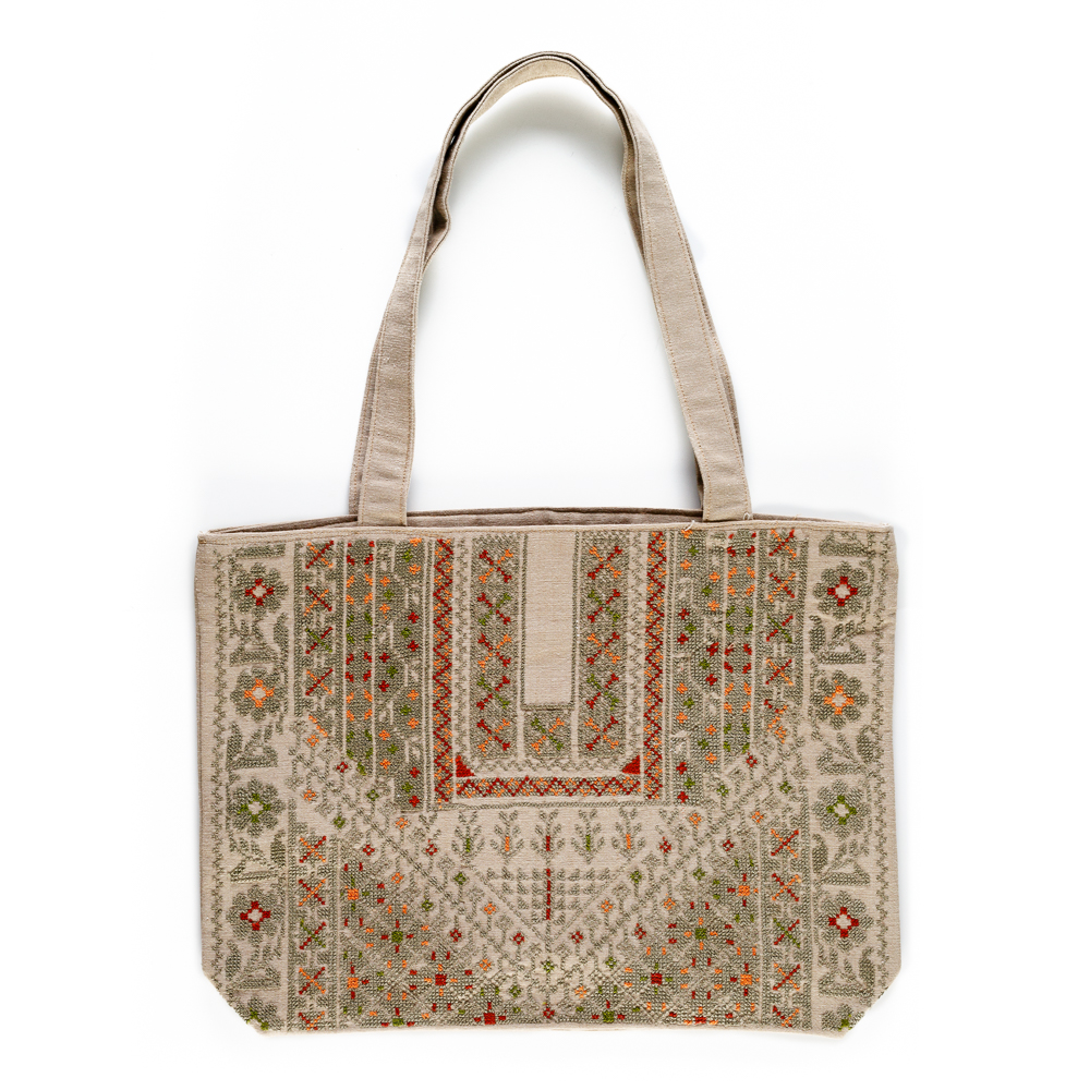 Embroidered Linen Tote (Light Green)