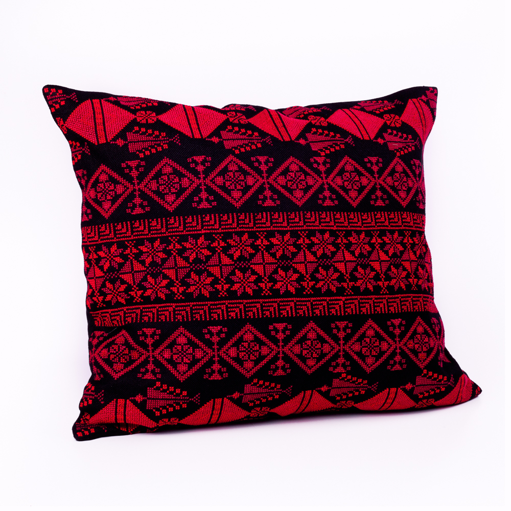 Cushion Cover - Motif Sampler (Red on Black)