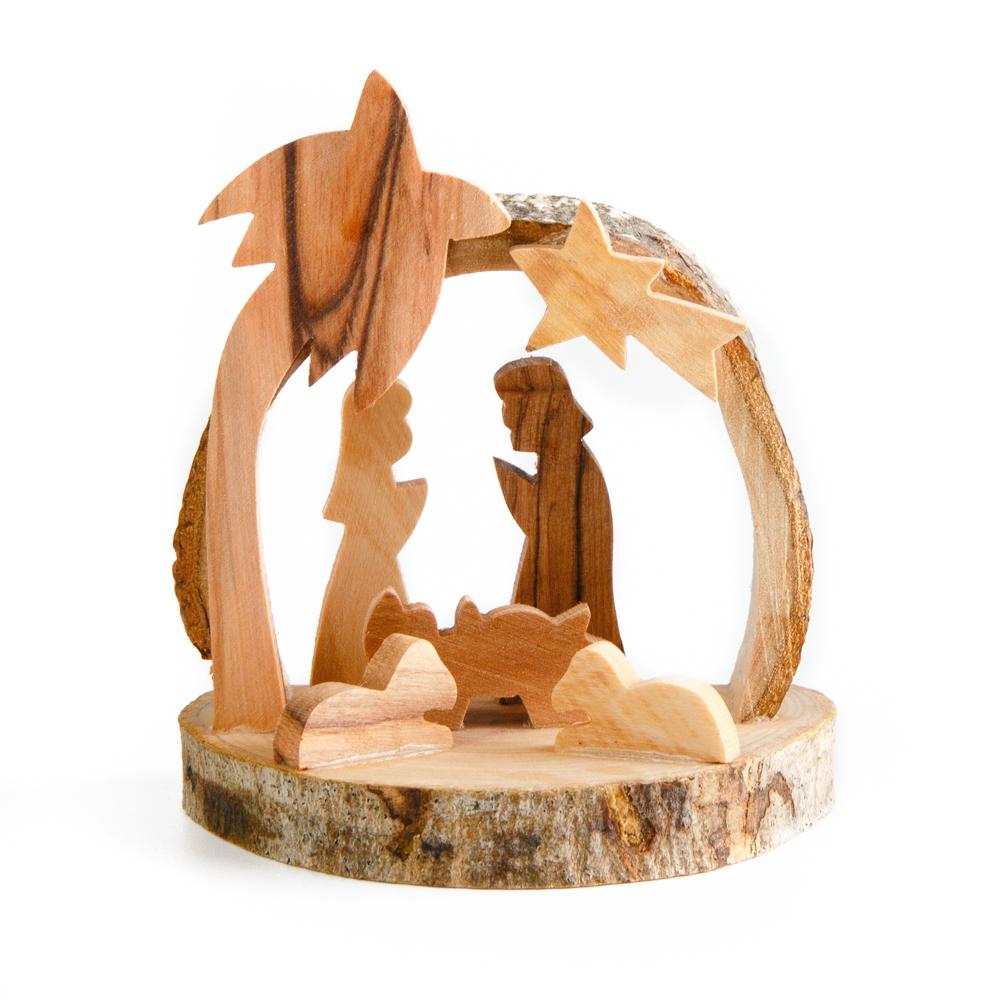 Small Olivewood Nativity on Natural Bark