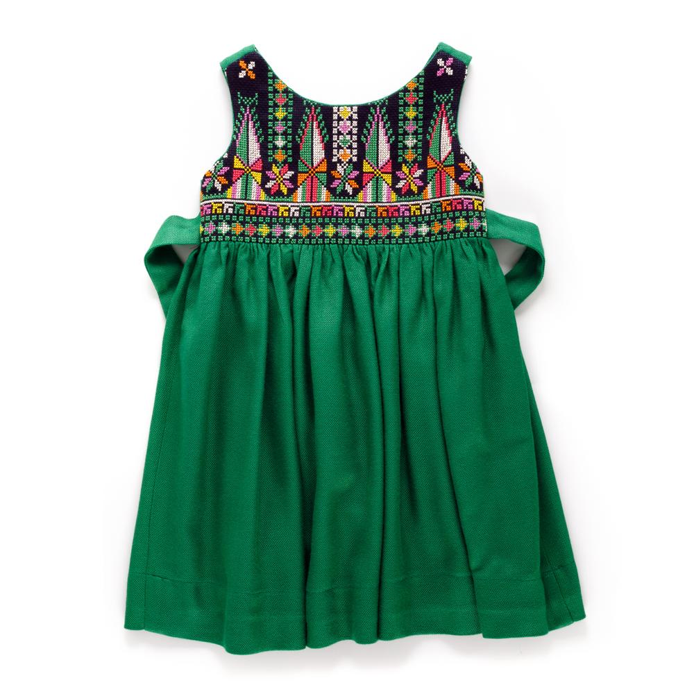 Cross-stitch 'Sarou' Dress (Green)