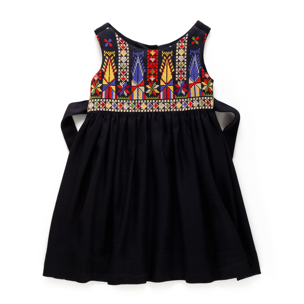 Cross-stitch 'Sarou' Dress (Black)