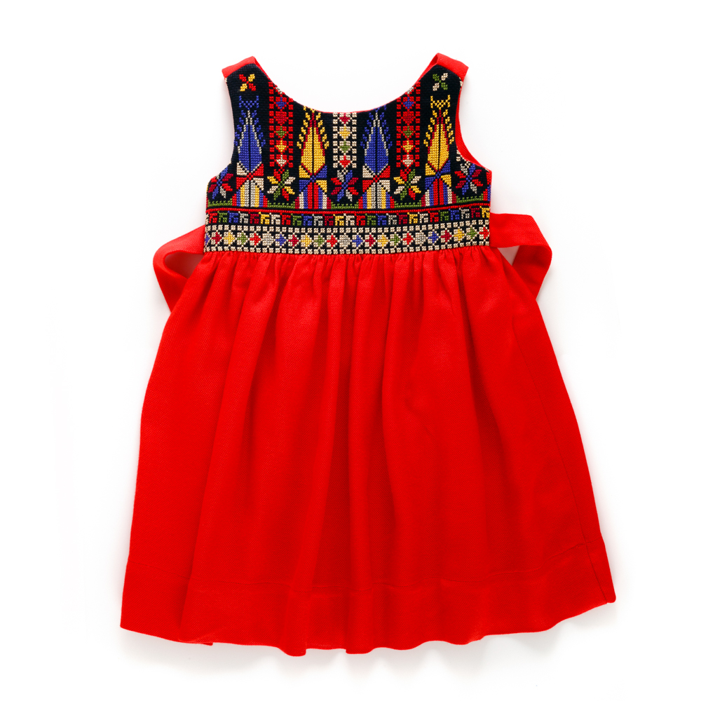 Cross-stitch 'Sarou' Dress (Red)