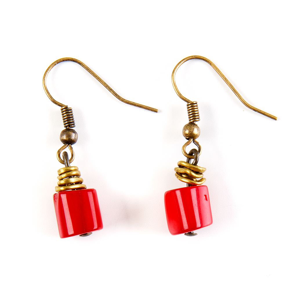 Bedouin Earrings - Red Coral