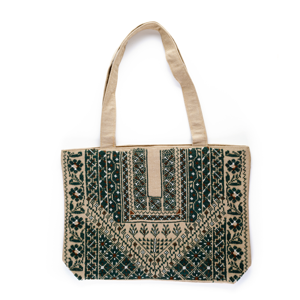 Embroidered Linen Tote (Green)