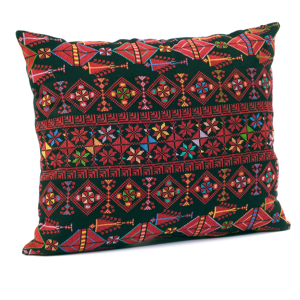 Cushion Cover - Motif Sampler (Multicolor on Black)