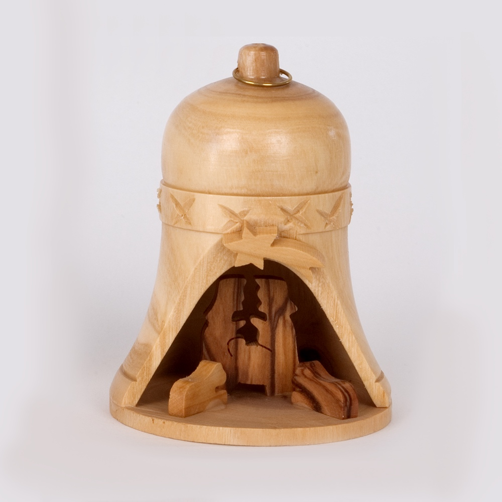 Olive wood - Nativity Bell Ornament
