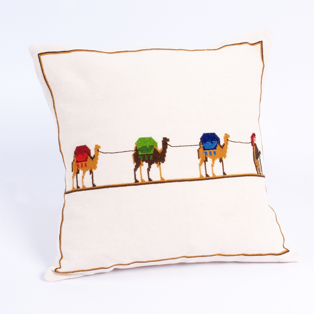 Embroidered Cushion Cover - Desert Caravan